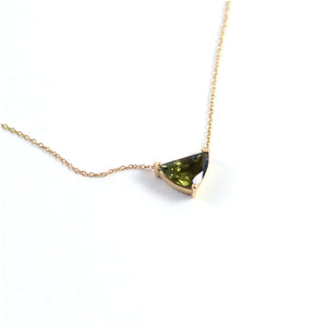 Triangular Green Tourmaline Pendant Necklace