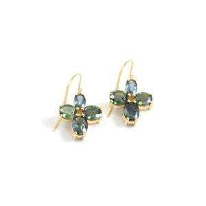 Green/Blue Montana Sapphire Story Earrings