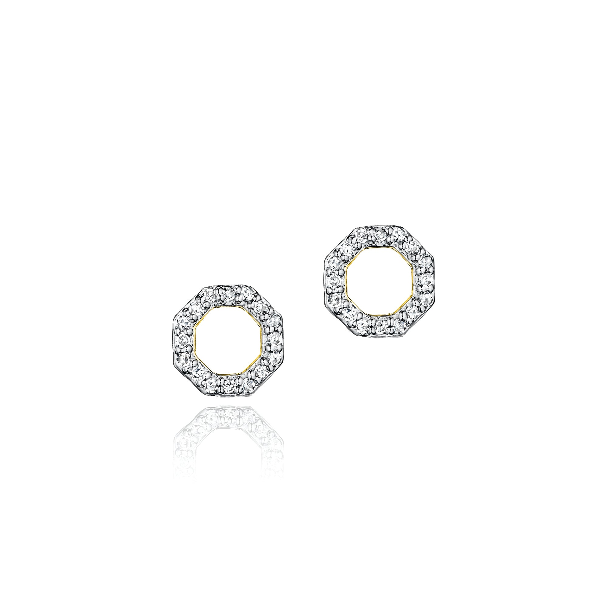 Phillips House small open hero gold and pave diamond stud earrings.