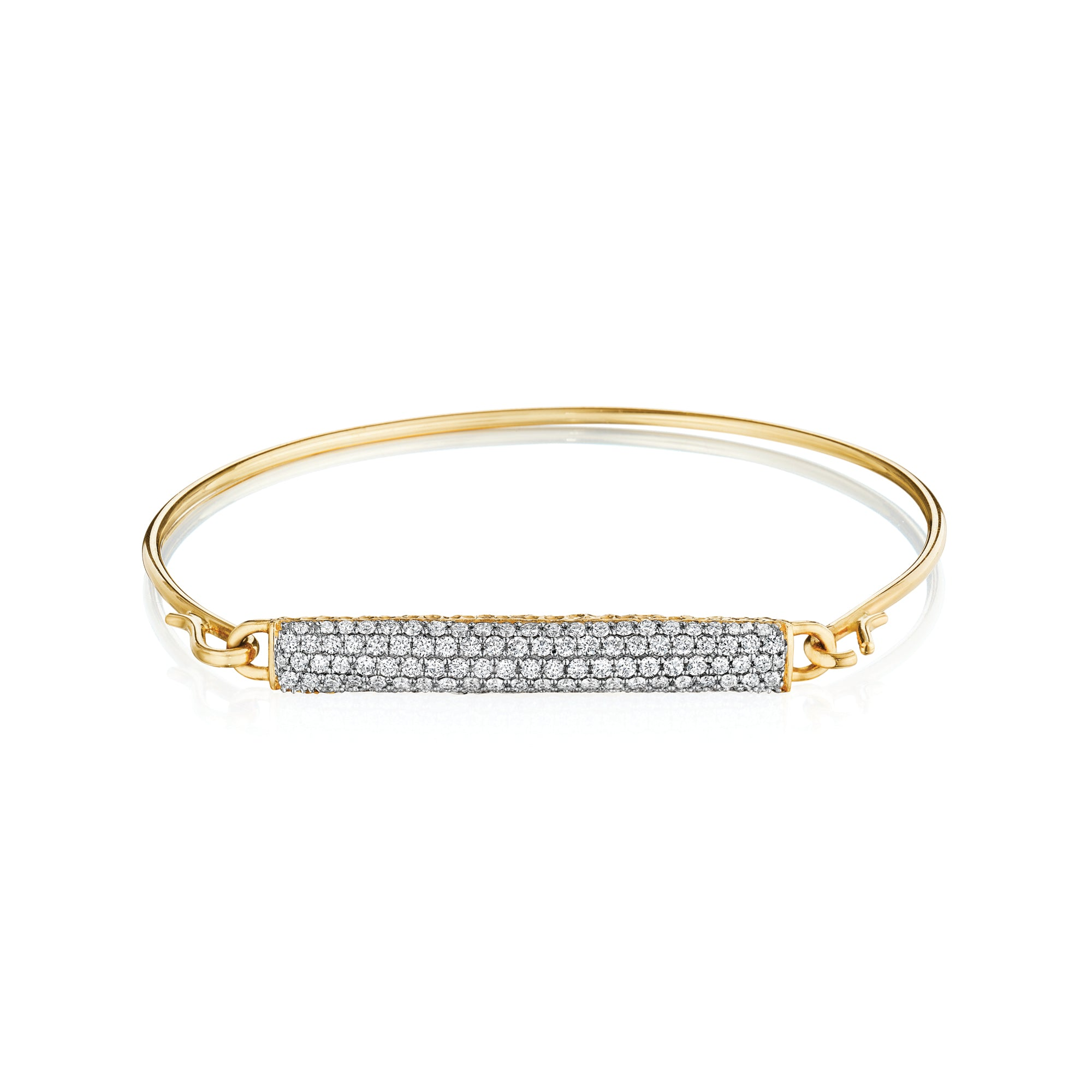 Phillips House Contrast Bar Diamond Wire Strap bracelet in 14kt yellow gold