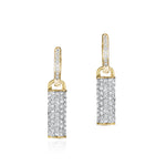 Phillips House Contrast Bar yellow gold and pave diamond huggie earrings.