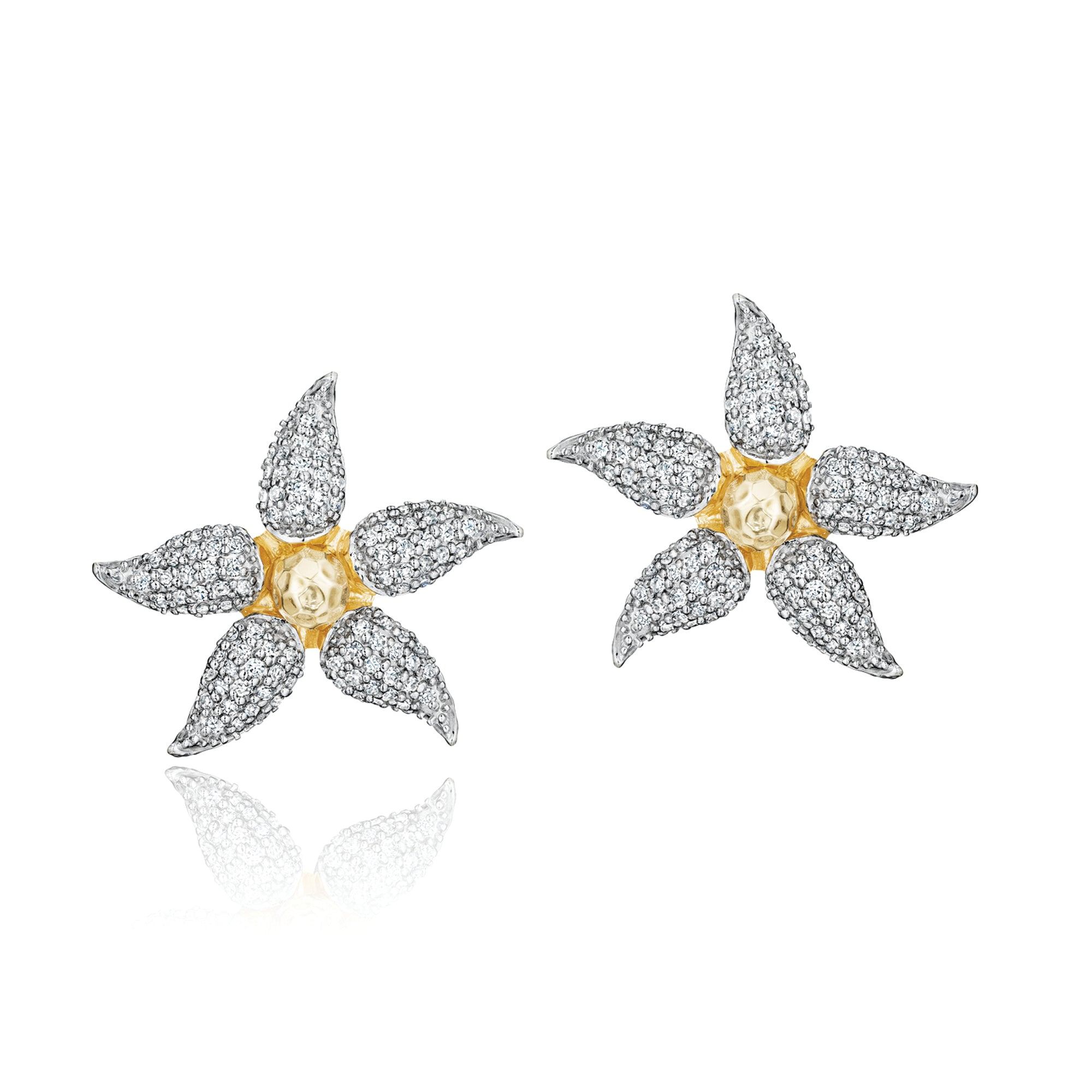 Phillips House floral studs in gold and diamonds