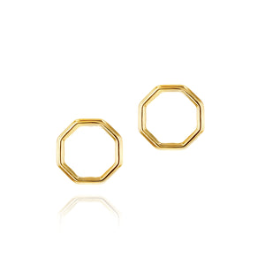 Phillip house yellow gold open hero stud earrings