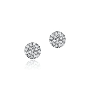 Phillips house white gold and pave diamond micro infinity stud earrings.