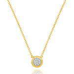 Phillips House diamond micro infinity plate necklace. 14kt yellow gold