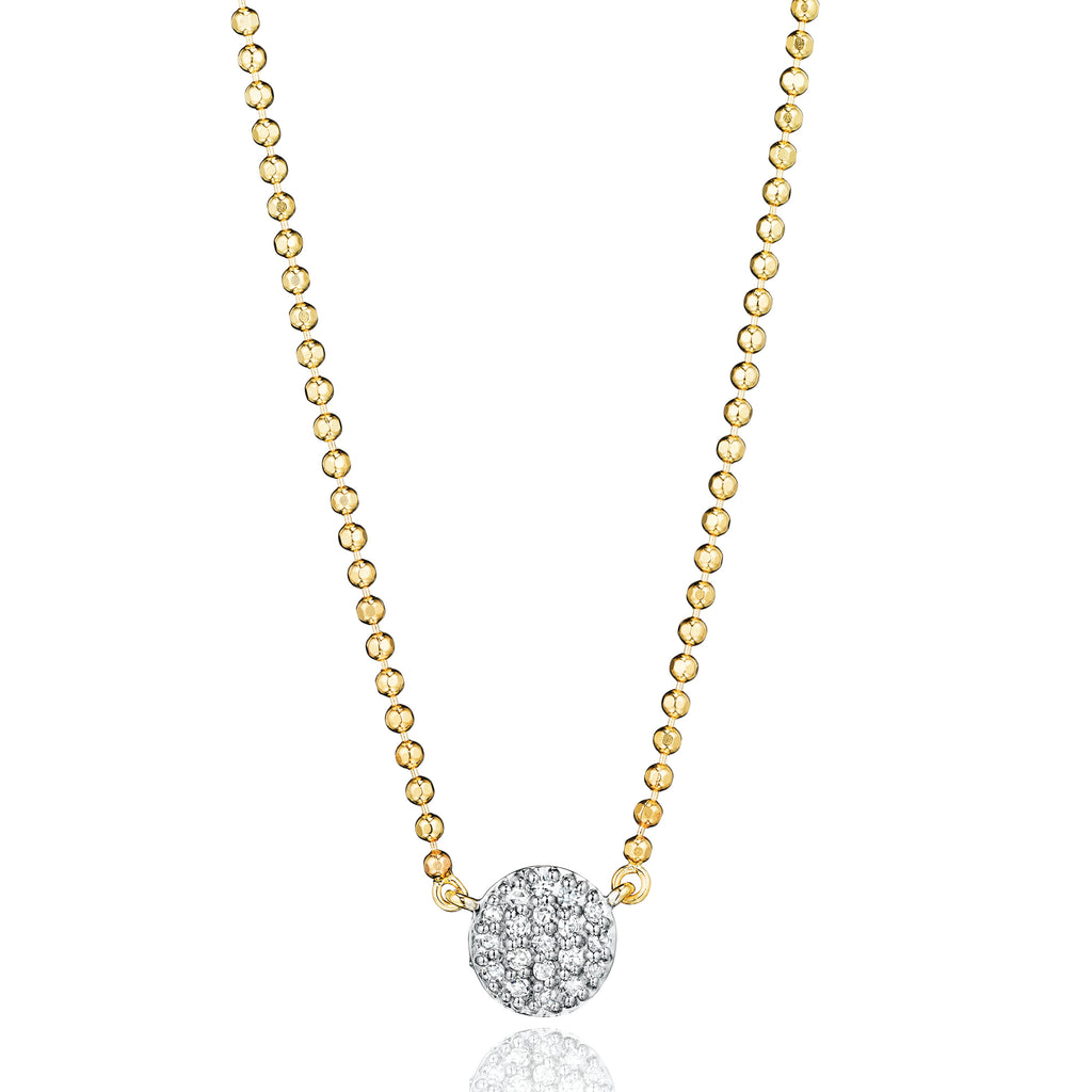 Phillips house micro infinity necklace yellow gold with pave diamond disk
