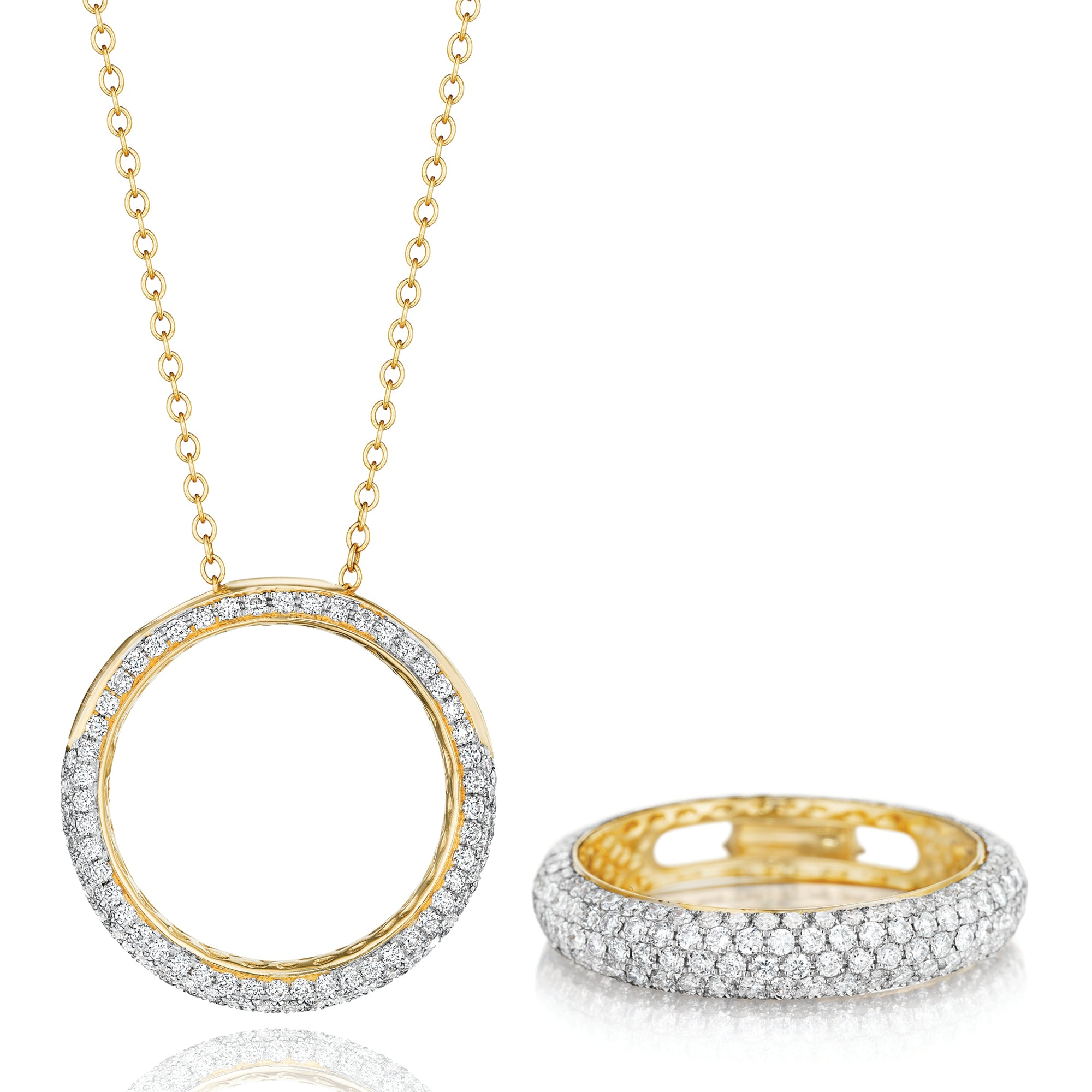 Phillips House revolution gold diamond infinity band ring necklace.