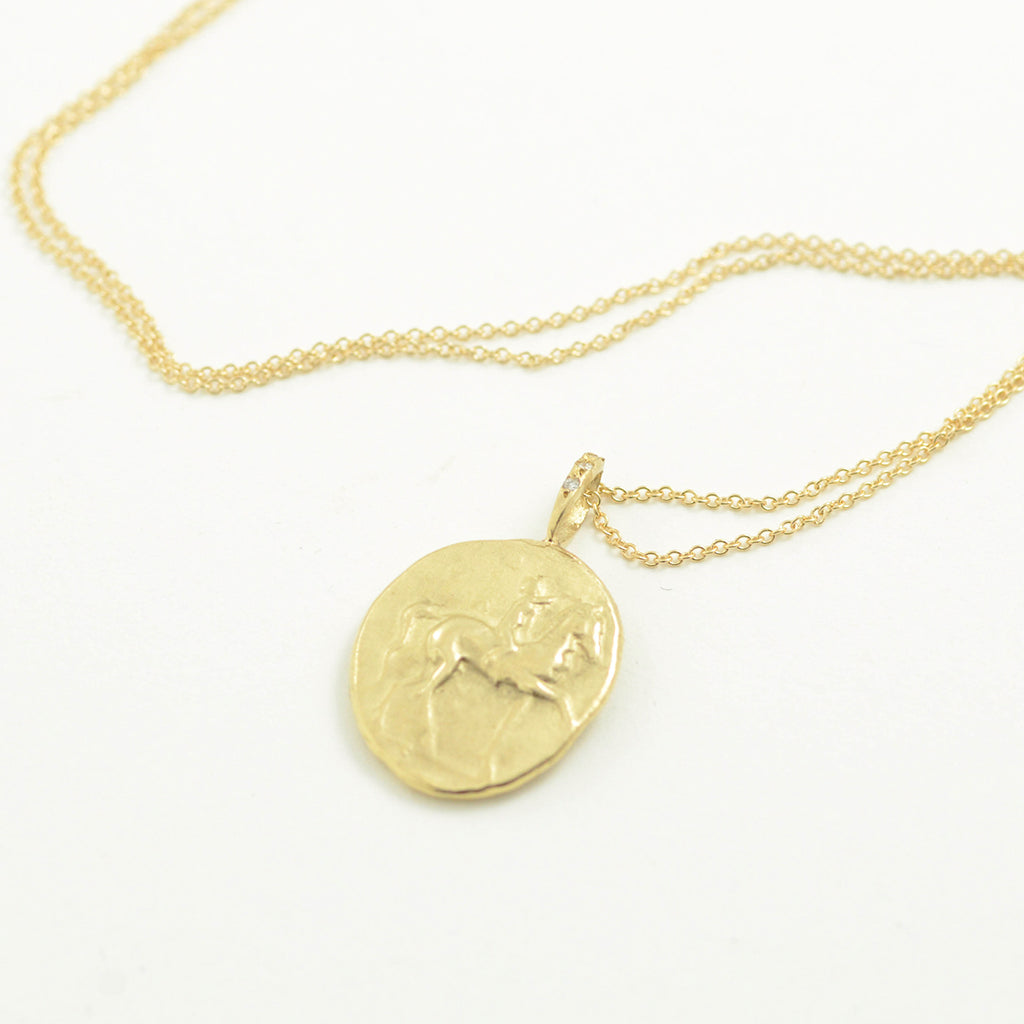 Robin Haley antiquities collection horse \ beautiful bond necklace in 14kt yellow gold
