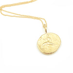 Robin Haley artifact collection the goddess of the sea necklace in 14kt yellow gold front with dolphin and rider