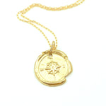Robin Haley 14kt yellow gold compass necklace with diamond detail