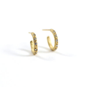 Robin Haley earrings 14 karat yellow gold hand hammered buggies hoops diamonds