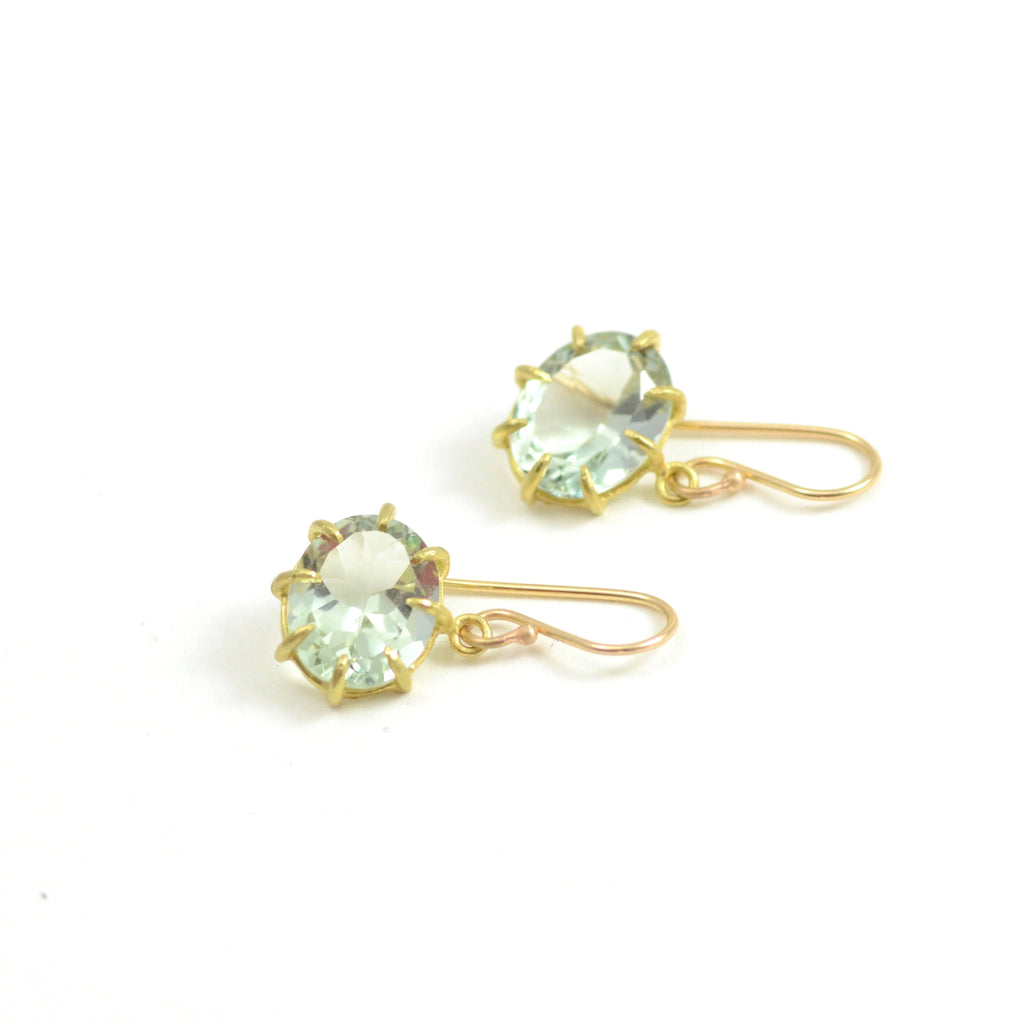 Small Green Amethyst Oval Drop Earrings