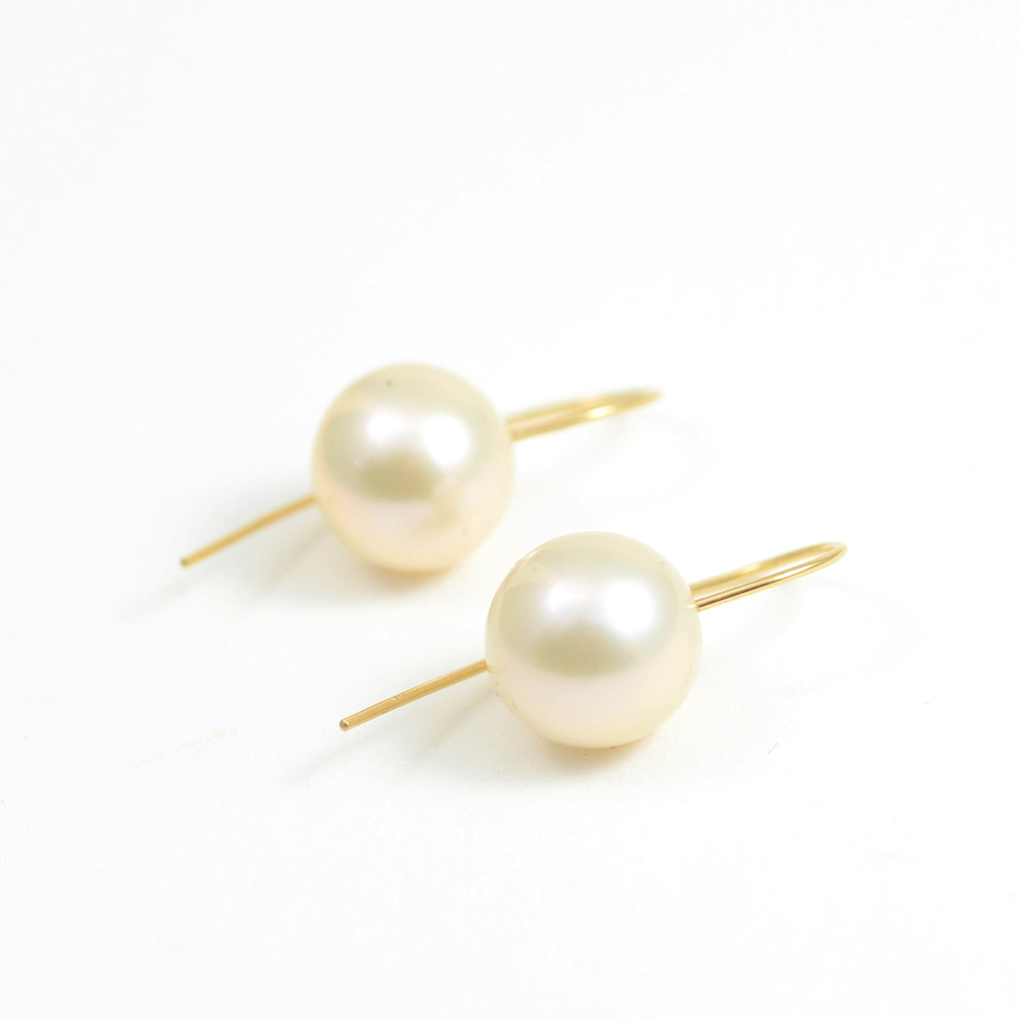 Fine Champagne South Sea Pearls on Minimalist Ear Wires