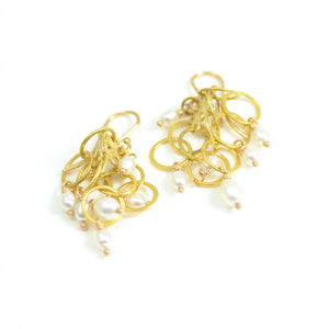 22kt yellow gold link clusters are adorned with kasha pearls creating an airy dramatic earring. French wires are 18kt yellow gold.