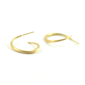 Rosanne Pugliese Earrings Crescent Moon Hoops 18 Karat Yellow Gold Post Back