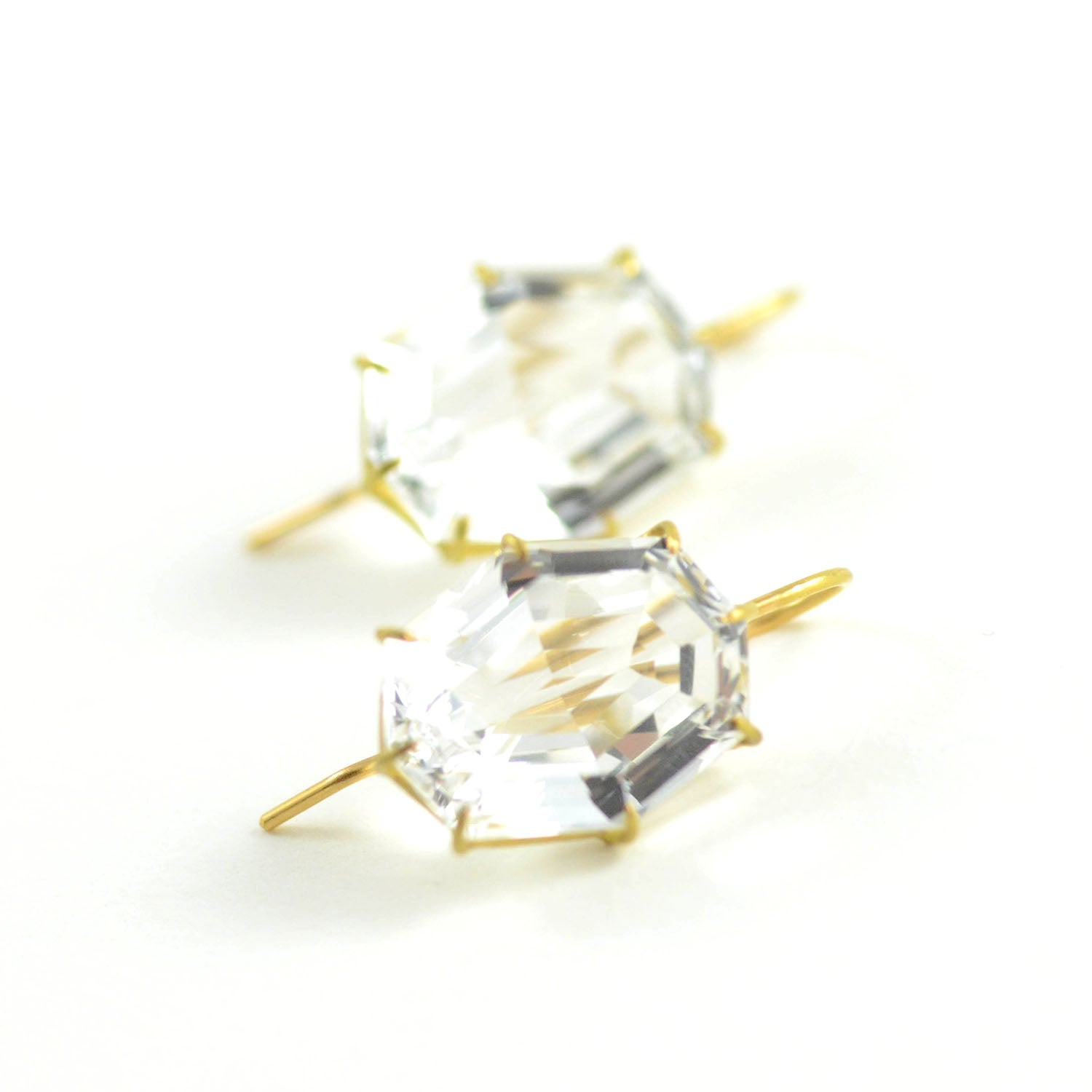 Rosanne Pugliese Faceted White Topaz Octagonal North South 18 Karat Yellow Gold French Wires