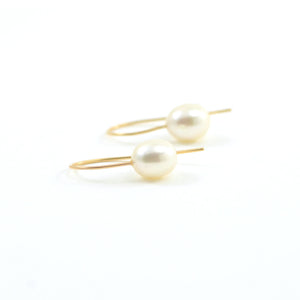 Rosanne Pugliese earrings Cream Fresh Water Pearls 14 Karat Yellow Gold  Minimalist Ear Wires