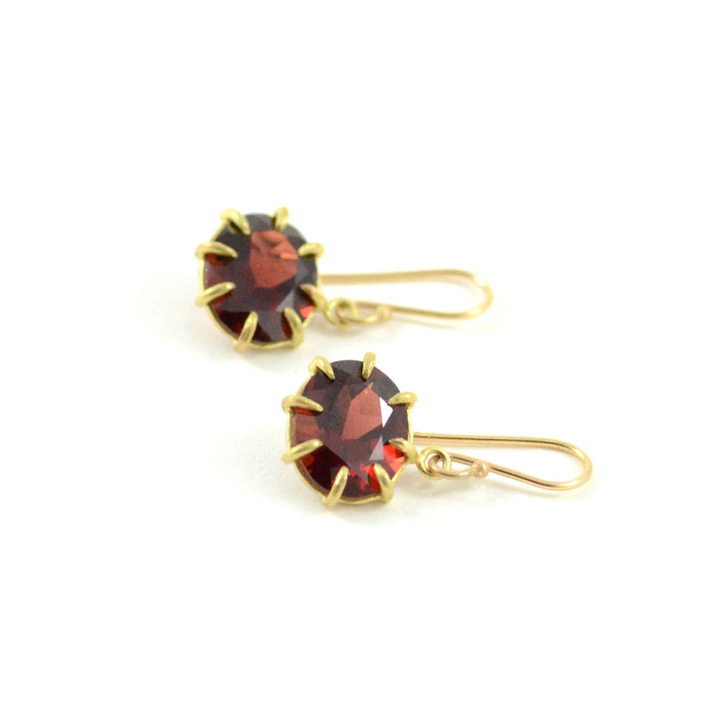 Small Garnet Oval Drop Earrings