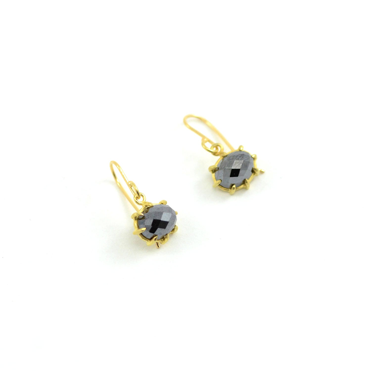 Rosanne Pugliese earrings Hematite Small Faceted Oval 18 Karat Yellow Gold Prong Set with  ear wires