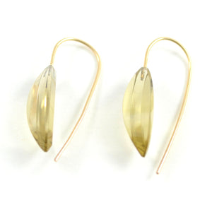Lemon Quartz Navette Earrings
