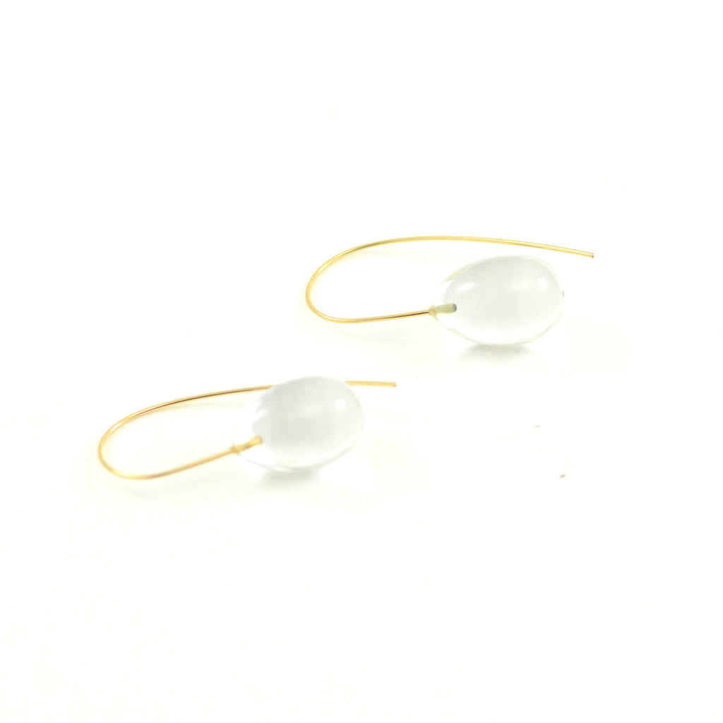 Rosanne Pugliese Earrings Mini Rock Crystal Egg Drops 14 Karat Yellow Gold Minimalist Ear Wire