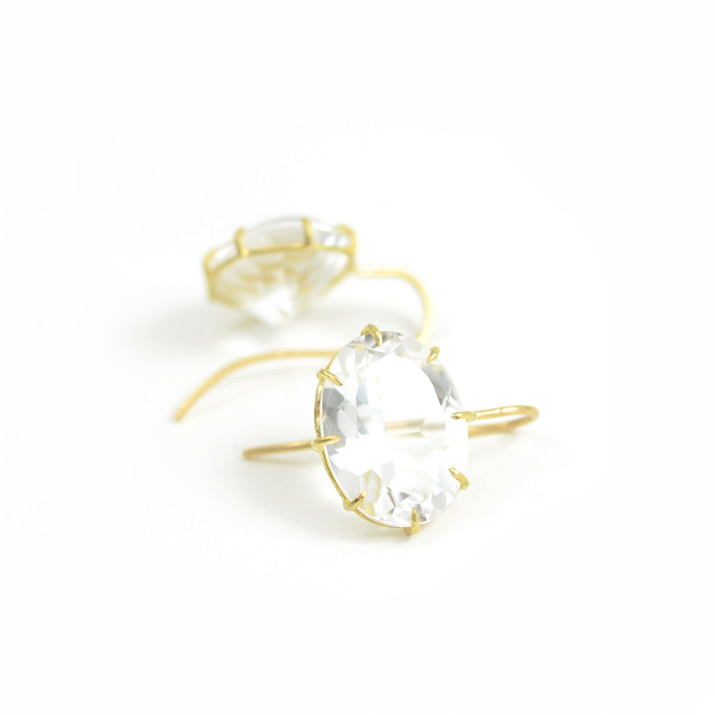 Rosanne Pugliese faceted white topaz east west earrings on 18kt yellow gold French wire