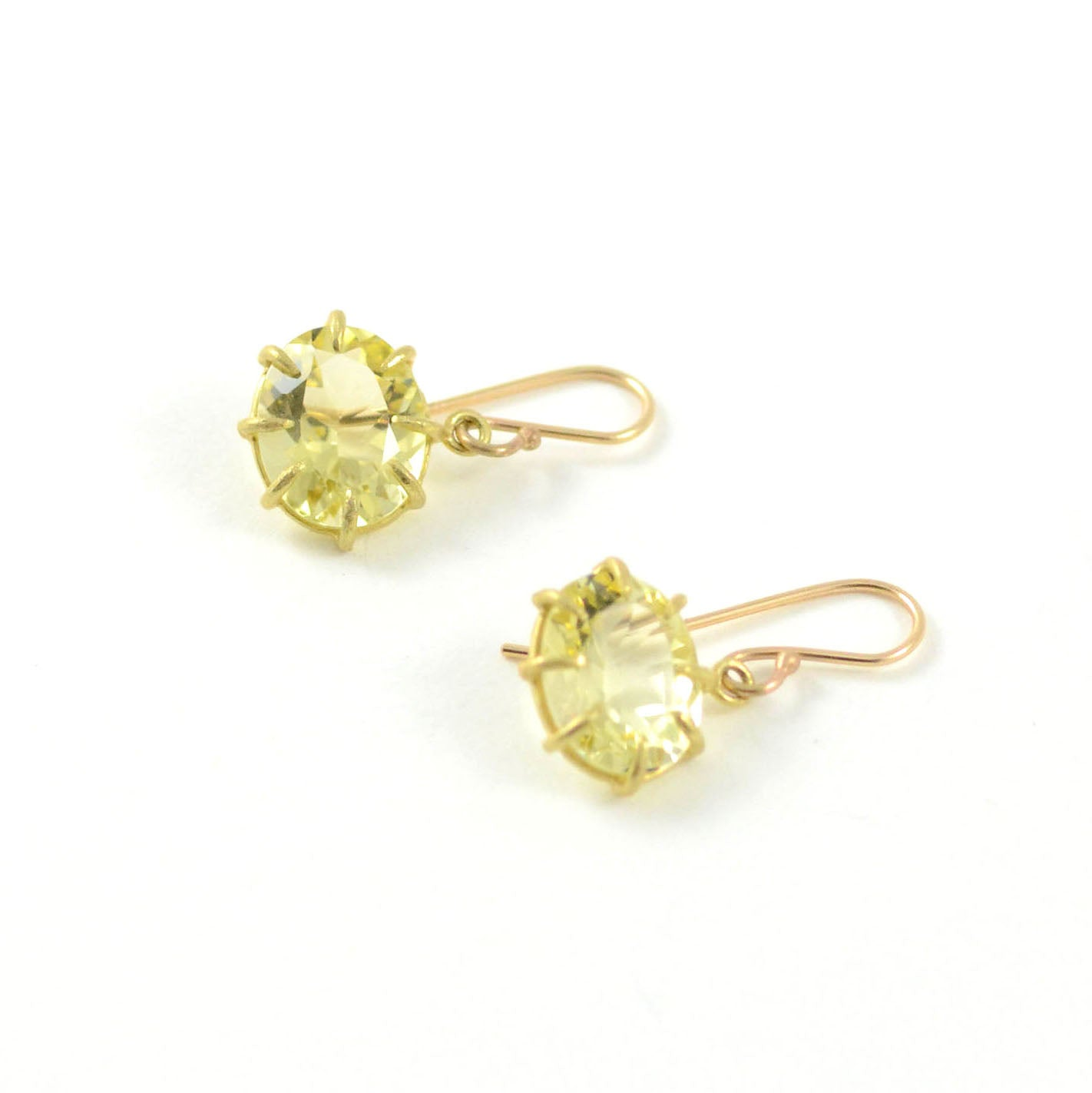 Rosanne Pugliese Earrings Small Oval Drops Faceted Citrine 18 Karat Yellow Gold Prongs French Wires