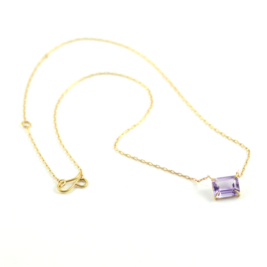 Rosanne Pugliese Necklace Emerald Cut Lavender Amethyst 18 karat Yellow Gold Prong Set Adjustable Fine Link 14 Karat Yellow Gold Chain