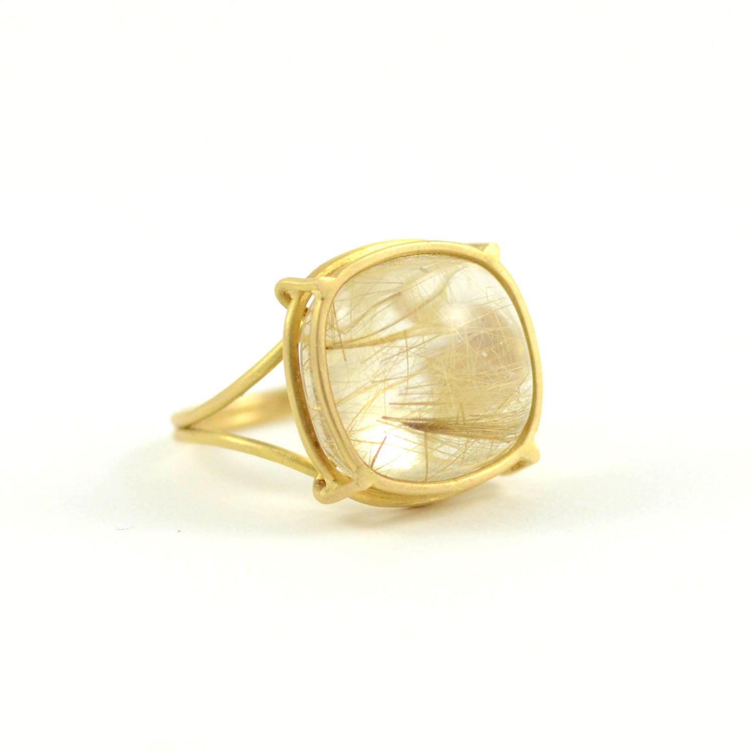 Rosanne Pugliese Ring Cushion Shaped Rutilated Quartz in 18 Karat Yellow Gold Cage