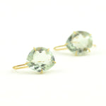 Rosanne Pugliese earrings faceted Green Amethyst on 18 karat yellow gold earwires