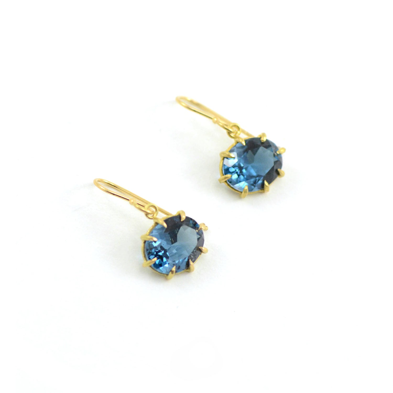 Rosanne Pugliese earrings Small Oval Faceted London Blue Topaz 18 Karat Yellow Gold on Ear wires