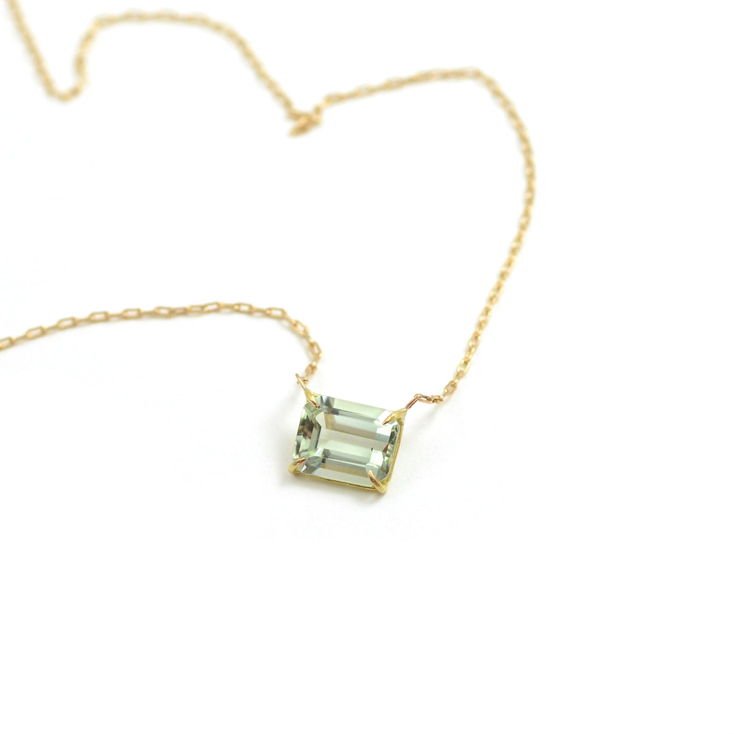Rosanne Pugliese Necklace with emerald cut east west green amethyst or prasiolite