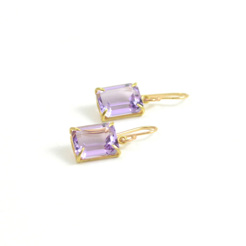 Rosanne Pugliese small emerald cut lavender amethyst French wire earrings