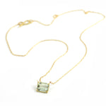 Emerald Cut Green Amethyst Necklace