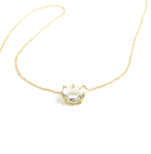 Oval Faceted White Topaz Solitaire Necklace