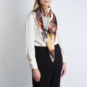'Spoonbill and Jindo' Scarf in Silk Twill; Petal|RicePaper