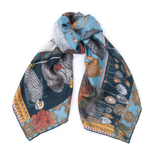 'Dogs' Treasure' Wool|Silk Scarf; Cobalt|Gold