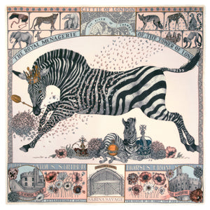 'Royal Striped Horses' Wool|Silk Scarf; Pastel|Pearl