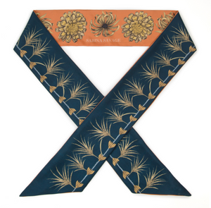 'Spoonbill and Jindo' Silk Ribbon Scarf; Indigo/Chili
