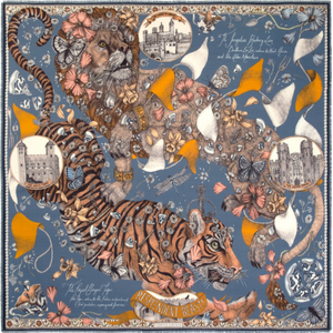 'Lion and Tiger's Tea Party' Scarf in Silk Twill; Sapphire|Gold