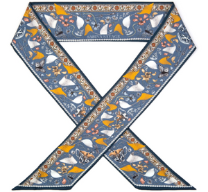 'Lion and Tiger's Tea Party' Silk Ribbon Scarf; Sapphire|Gold