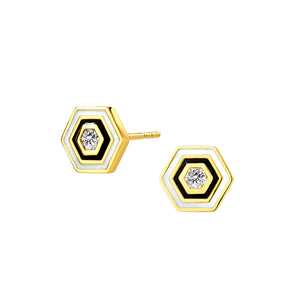 Hexagonal Enamel Earrings