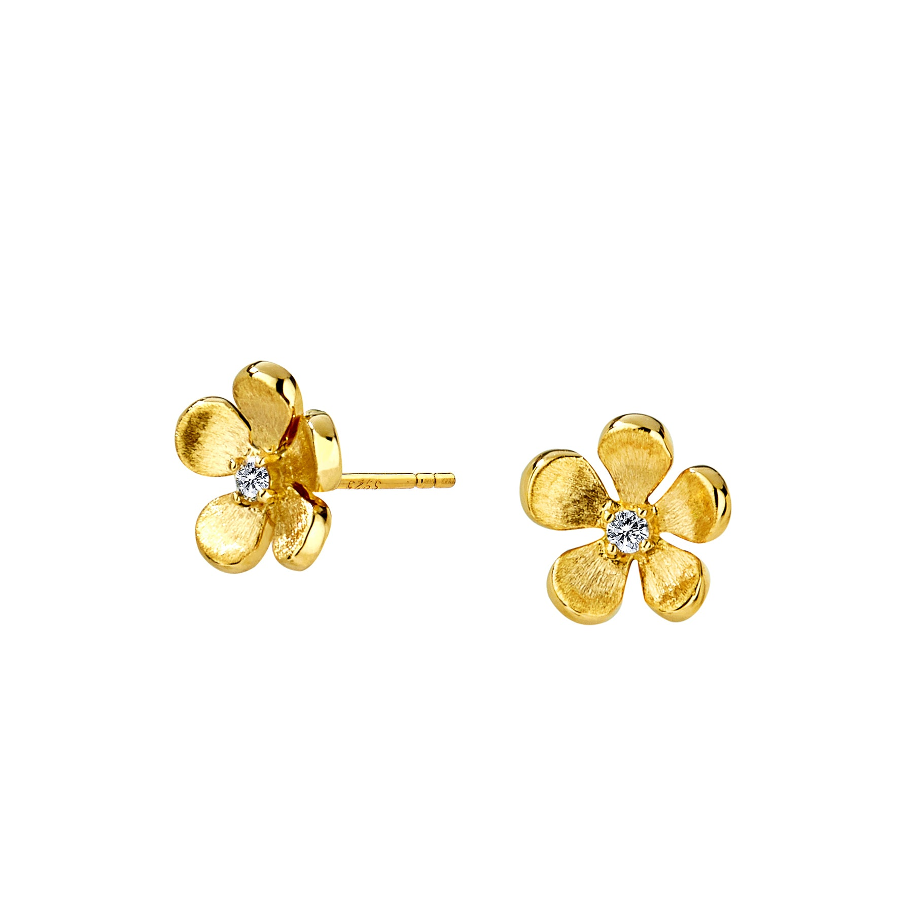 Flower Studs with Diamonds