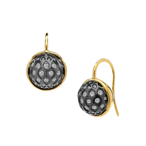 Syna earrings Baubles French Wire Oxidized Silver  Champagne Diamonds 18 Karat Yellow Gold