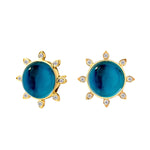 Mogul Studs with London Blue Topaz and Champagne Diamonds