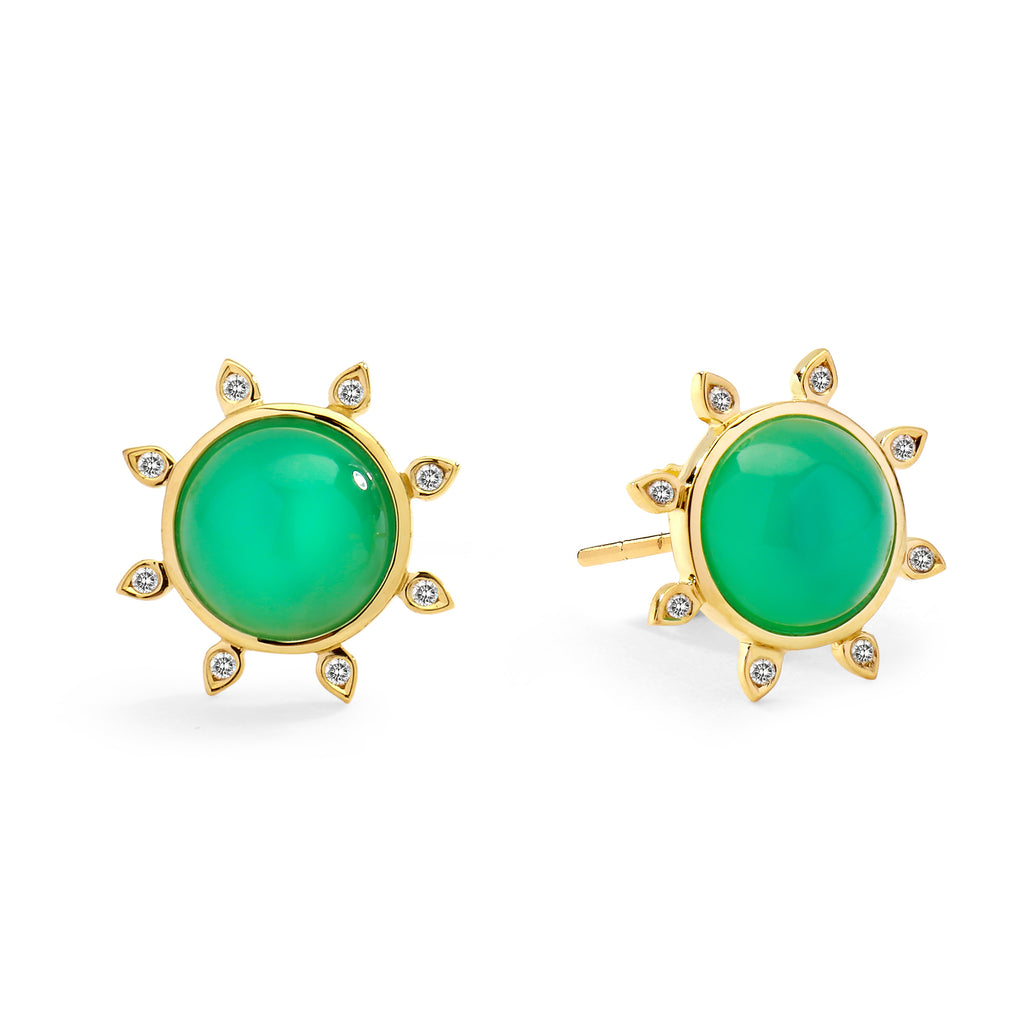 Mogul Studs with Chrysoprase and Champagne Diamonds