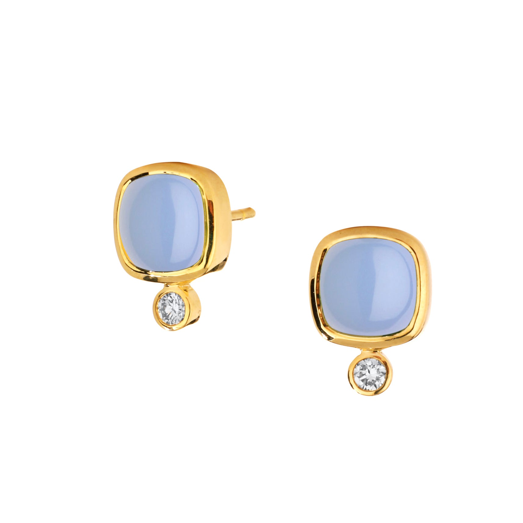 Syna_Jewels_Blue_Chalcedony_Sugarloaf_Champagne_Diamond_18_Karat_Yellow_Gold_Stud_Post