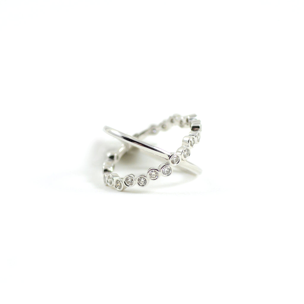 Syna Jewels Bubbles Champagne Diamonds White Gold Cross Ring