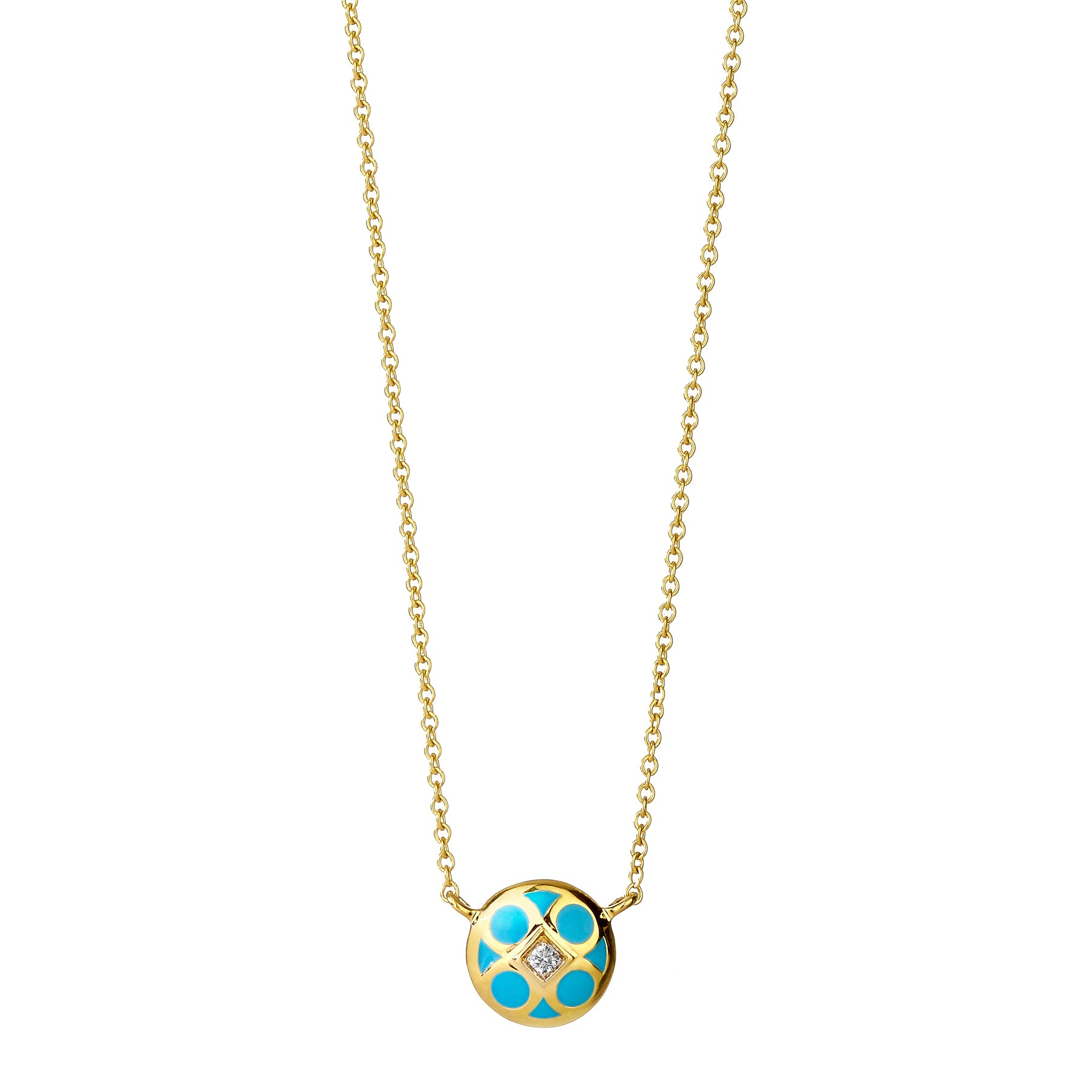 Reversible White and Turquoise Enamel Necklace