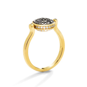 Syna Jewels Ring Reversible Flip Chakra Black and Champagne Diamonds 18 Karat Yellow Gold